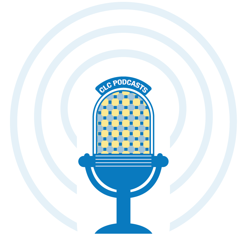 CLC podcast graphic of a microphone and a button link this iamge is not linked